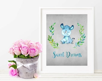 Sweet Dreams Print, Digital Print, Printable Art, Nursery Decor, Baby Print, Watercolor Print, Instant Download, Nursery Wall Art, Rhino