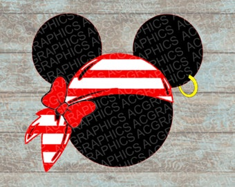 Pirate Minnie with Bow and Bandana SVG, DXF, JPEG, and Studio Downloads