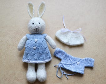 Hand Knit Bunny Cute Knitted Little Bunny Girl Cotton Doll For Girls Rabbit Gift Cute Stuffed Animal Collectible Toy Independence Day Gift