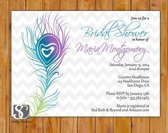 Peacock Feather Bridal Shower Invite, Chevron Feather Invite, Milestone Birthday Invitation, DIY Printable 5x7 Digital JPG (159)