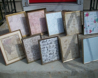 Vintage Gold Metal picture frame set of 10, Rustic Wedding, Home decor, table number centerpiece, ornate frames, instant gallery collection