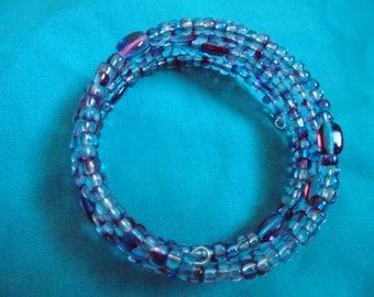 Amethyst blue Czech bead memory wire bracelet