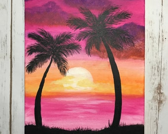 Original Sunset Painting | Large Sunset Art | Palm Tree Painting | Ocean Painting | Palm Tree Art | Sunset Ocean Art | 8''x12''