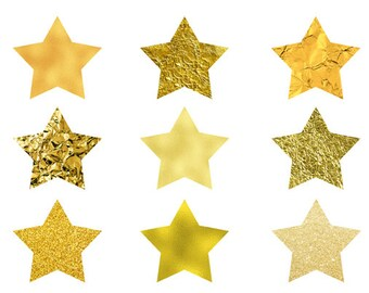 9 Digital Cliparts, Gold Star, Star Clipart, Gold Clipart
