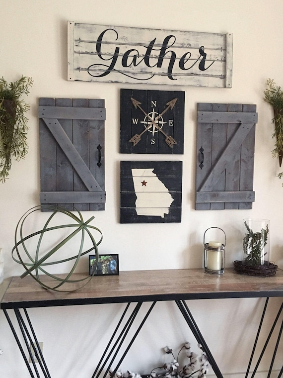 GATHER SIGN Rustic Gather Sign Wood Large Dining Room Signs Decor Fixer Upper 36x12