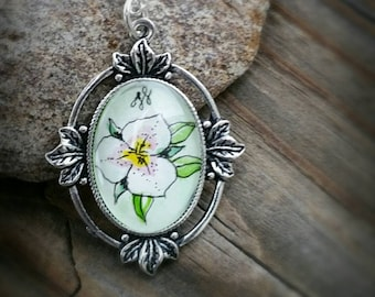 Sego Lily Hand-painted watercolor miniature painting.  Sego lily necklace.  Flower jewelry.