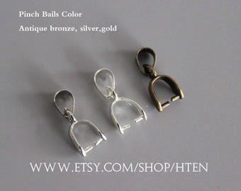 Pinch bail etsy 30pcs pinch bails 14mm 16mm 20mm pendant bails antique bronzesilver k white mozeypictures Images