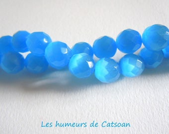 10 round beads cat's eye faceted glass 10mm blue Ultramarine quality grade A