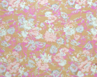 Floral in Pink and Orange - sheer fabric