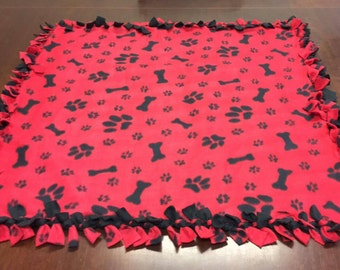 "No Sew Red Paw Print and Doggie Bone Blanket 36.5""X 36.5"" Perfect for your dog or your lap"