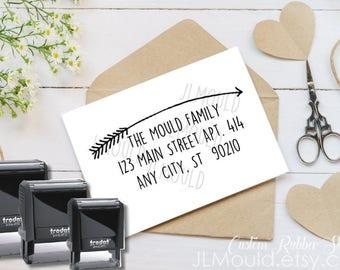 0412 Self Inking Handwriting Modern Arrow Calligraphy Script Custom Rubber Stamp Personalized Stationery Wedding Return Address