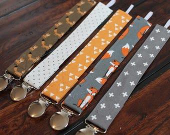 Modern Baby Boy Pacifier Clips/Binky Clips, Foxes, Geometric