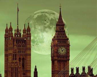 Big Ben print, London Print, London Photography - Fairy Tale of London, green, full moon