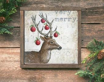 Framed Christmas Deer Art, Framed Christmas Deer Print, Framed Christmas Decor, Farmhouse Christmas Decor