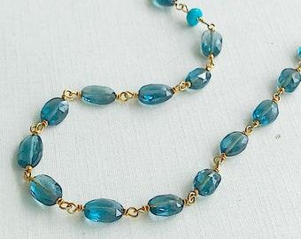 London blue topaz Linked Necklace