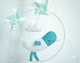 Mobile hanging type Dreamcatcher dream Blue Bird and windmill