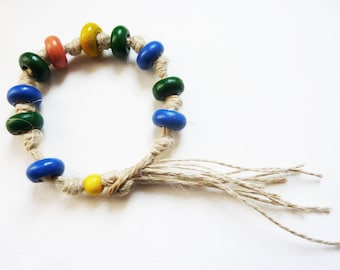 Rustic bracelet, nature hemp and painted wood beads