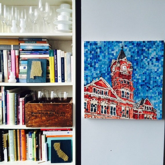 Auburn Alabama - Auburn University - Samford Hall - Architectural Art -Original Painting