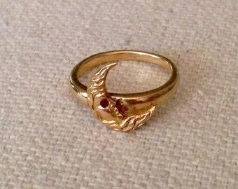 Antique Art Nouveau 14K Yellow Gold Crescent Moon Ring - Size 2