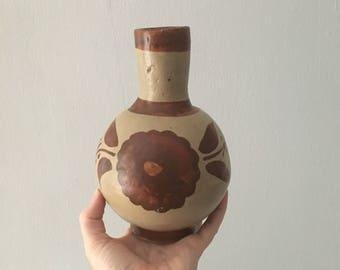 floral  mexican earthenware clay pottery vase. pottery bud vase vintage boho clay vessel. bohemian planter home decor floral interior design