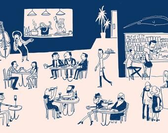 Jazz Supper Club Speak Easy Illustration