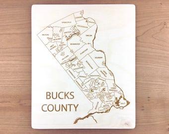 Bucks County Pennsylvania Map - Langhorne Penndel Doylestown Plumstead Newtown New Hope Bensalem Wrightstown Levittown Bristol Etched Atlas