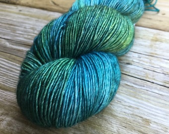 Hand Dyed Merino Silk with a Twist Fingering Yarn 100 gms 438 yds: EARTH DAY evergreen teal ocean blue