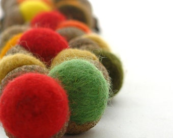 FELTED Acorn Caps - handmade, felted acorn caps - decoration, ambiance, gift, autumn, fall, herfst