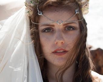 Mermaid Crown, Shell Crown, Mermaid Tiara - Green