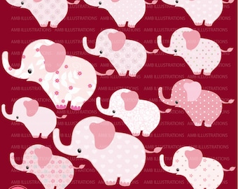 80%OFF Pink Baby Elephant clipart, Nursery baby clipart, Nursery clip art, commercial use, vector graphics, digital images, AMB-888