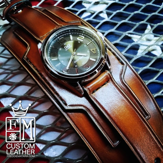 Brown Leather cuff watch Tobacco fade watch band wide cuff leather Bracelet  Handmade for YOU in USA by Freddie Matara