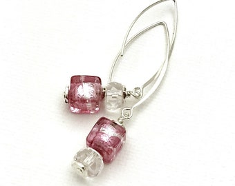 Pink Murano Glass Crystal Asymmetrical Minimalist Dangle Earrings  Drop Cube for Her Under 100  Mom Sister Friend Gift