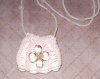 Beaded Knit Amulet Bag - Pendant bag - Necklace - Knit amulet bag - Beaded Amulet bag