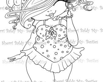 INSTANT DOWMLOAD Digital Digi Stamps Big Eye Big Head Dolls Digi New Fluffy Beautiful Besties Tm  img081 By Sherri Baldy