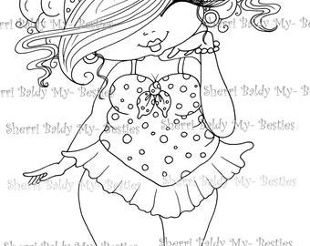 INSTANT DOWMLOAD digitale Digi Stamps Big Eye Big Head Dolls Digi New Fluffy Beautiful Besties Tm img081 By Sherri Baldy