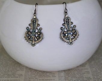 Ornate Earrings, Patina Jewelry, Vintaj Jewelry, Bohemian Jewelry, Vintage Jewelry, Boho Jewelry, Teardrop Earrings, Brass Earrings, Gypsy