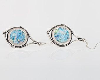 Dangle 925 Sterling Silver,Ancient Roman Glass Earrings Unique Openwork