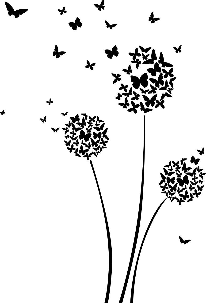 Butterfly Dandelion Decal Sticker Dandelion At The Wind