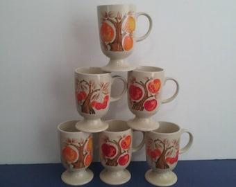 Vintage 1960's Pedestal Mugs - Set of 6 - Fruit Trees Design!