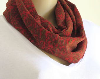 Infinity Scarf, Womans Scarf, Red Scarf