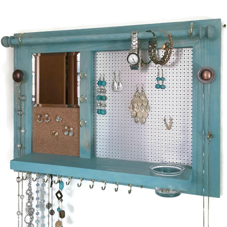 Designer Jewelry Organizer-Wall Mount Jewelry Storage-Wood |Wooden Wall Jewelry Organizer