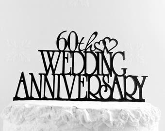 60th Diamond Wedding Anniversary cake topper, Wedding Anniversary, 60th anniversary, Diamond anniversary