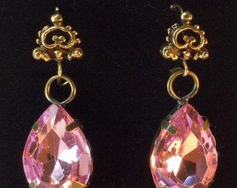Pink Dangle Earrings Vintage Style