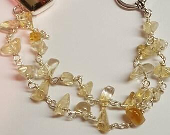 Smokey quartz and citrine bracelet
