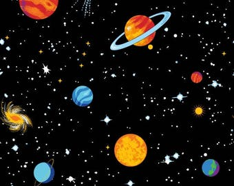 Spacewalk Glow in the Dark Planets Blank Quilting Fabric