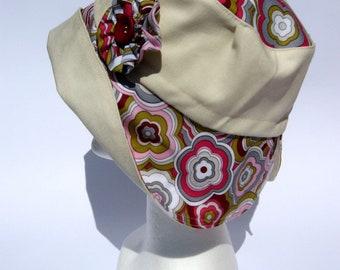 women's floral summer hat, bucket fabric summer hat, retrò flower design , bohaim hippy look, flower power hat