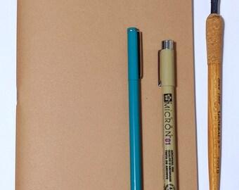 Kraft Notebook Insert // Cahier Fauxdori - Bullet Journal - Blank Planner Notebook - Kraft Cover Journal - Fountain Pen Friendly Paper