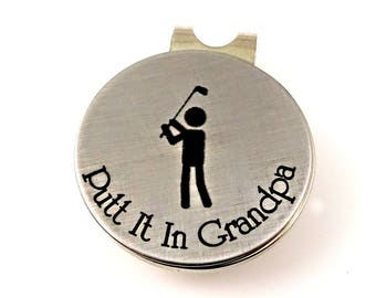 Putt It In Grandpa - Magnetic Golf Ball Marker & Leather Keychain Case -  Grandpa Dad - Father's Day