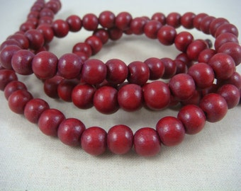 "Burgundy Wooden Beads - 8mm Round Dark Red Wooden Beads, Cranberry Red Beads (9464) - 16"" Strand"