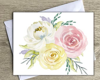 Floral Notecards, Any Occasion Notecards, Flower Notecards, Vintage Notecards, Watercolor Floral Notecards, Blank Cards